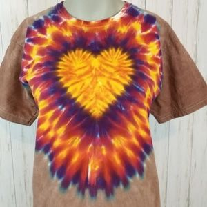 TIE DYE Heart Tee Shirt Size Youth Large